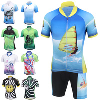 Children Cycling Clothing Boys Girls Short Sleeve Jersey with Pad Shorts Sets Bike Team MTB ropa ciclismo Kids Sportwear Maillot