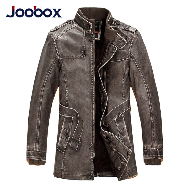 JOOBOX Brand Leather Jacket Men 2016 Slim Warm Mens Washed Leather Motorcycle Biker Jackets Standing Collar Coat Men parka