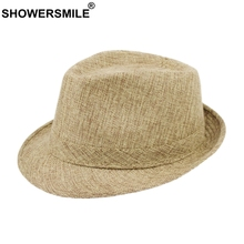 SHOWERSMILE Men Fedora Hats Classic Solid Linen Jazz Cap Male Khaki Brand British Style Spring Summer Plain Outdoor Beach Hat