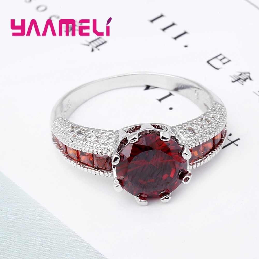Cz zircon anéis de casamento 925 jóias de prata esterlina feminino vermelho cristal noivado proposta anel acessório para o sexo feminino