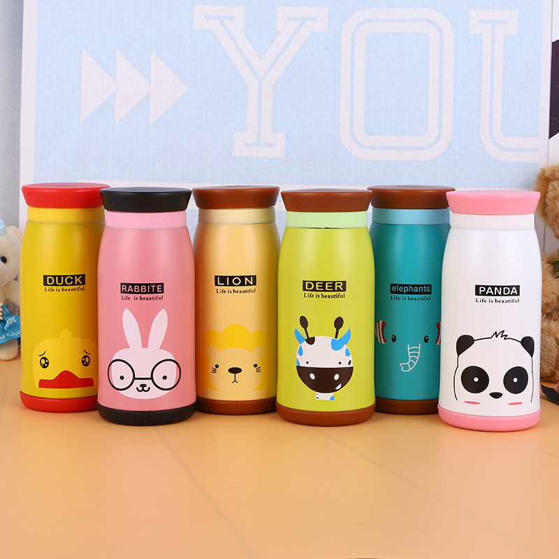 New Arrival 250ml/350ml Cartoon Thermos Cup Bottle Stainless Steel Thermocup Vacuum Thermal Mug Funny Birthday Couple Gift Kid