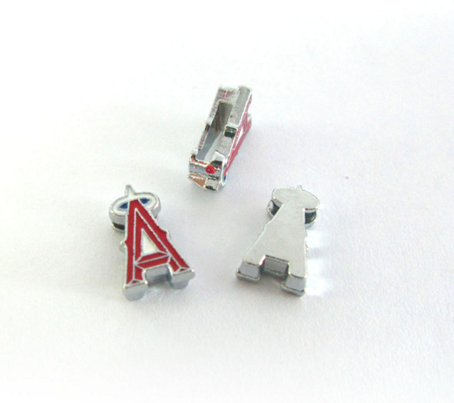 20 Pcs Los Angeles Angels Slide Charms 8mm Alloy With Enamel Sport Team Charms Fit Pet Collar DIY Necklace & Bracelet