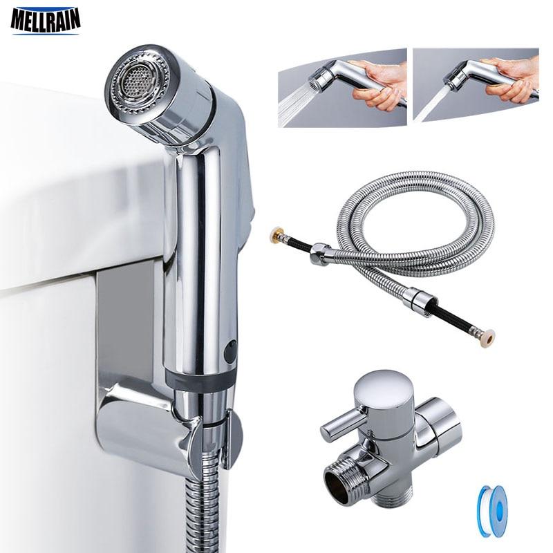 Two Function Toilet Hand Bidet Faucet Bathroom Bidet Shower Sprayer Brass T Adapter 1.2m Hose Tank Hooked  Holder Easy Install