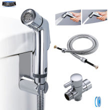 Two function toilet hand bidet faucet bathroom bidet shower sprayer brass T adapter 1.2m hose tank hooked holder easy install(China)