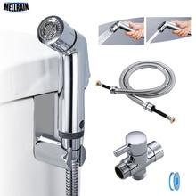 Grifo de bidé de baño con dos funciones, rociador de ducha de bidé de baño, adaptador T de latón, soporte enganchado para manguera de 1,2 m, fácil instalación