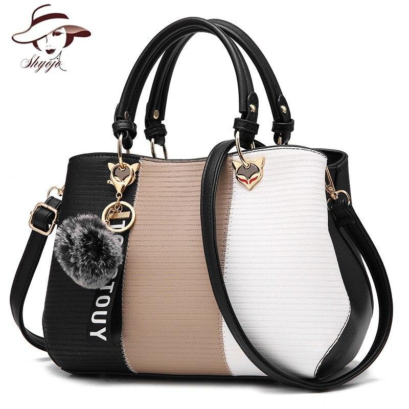 b50b4383aaf8 Women Top-handle Messenger Bag Patchwork Fashion PU Leather Handbag Female  Crossbody Bags Fox Tassel Casual Tote with Fur Ball