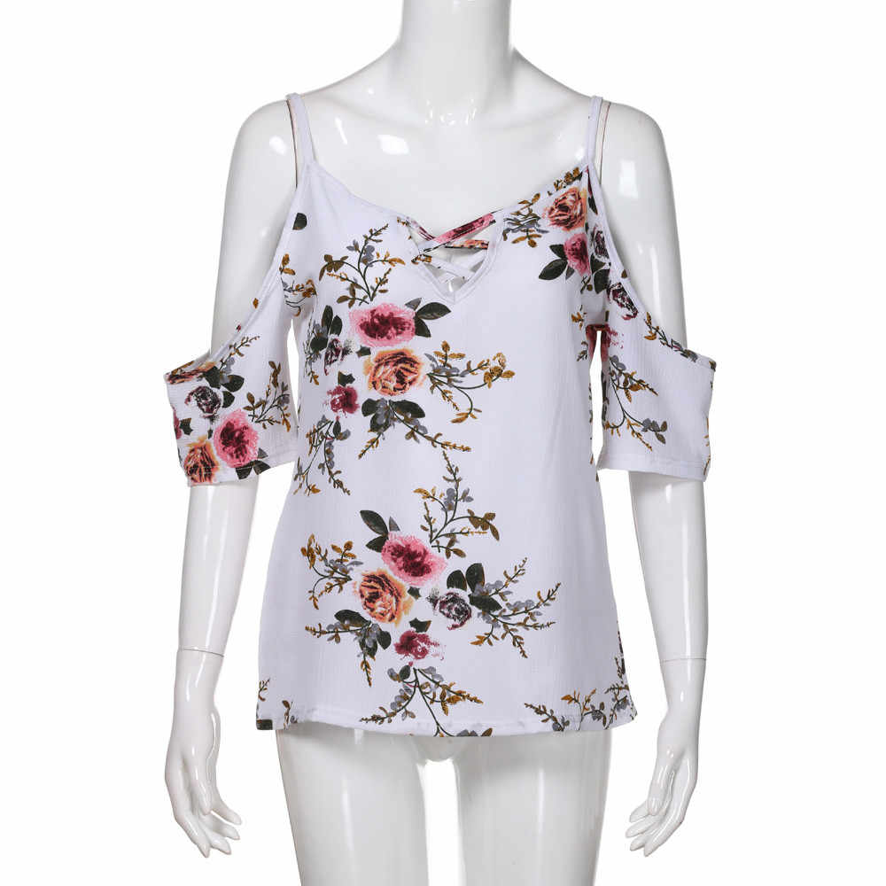 Womail женский топ Женская Цветочная футболка с открытыми плечами короткий рукав повседневные топы блузка без рукавов шифон Повседневная 2019 Прямая поставка f1