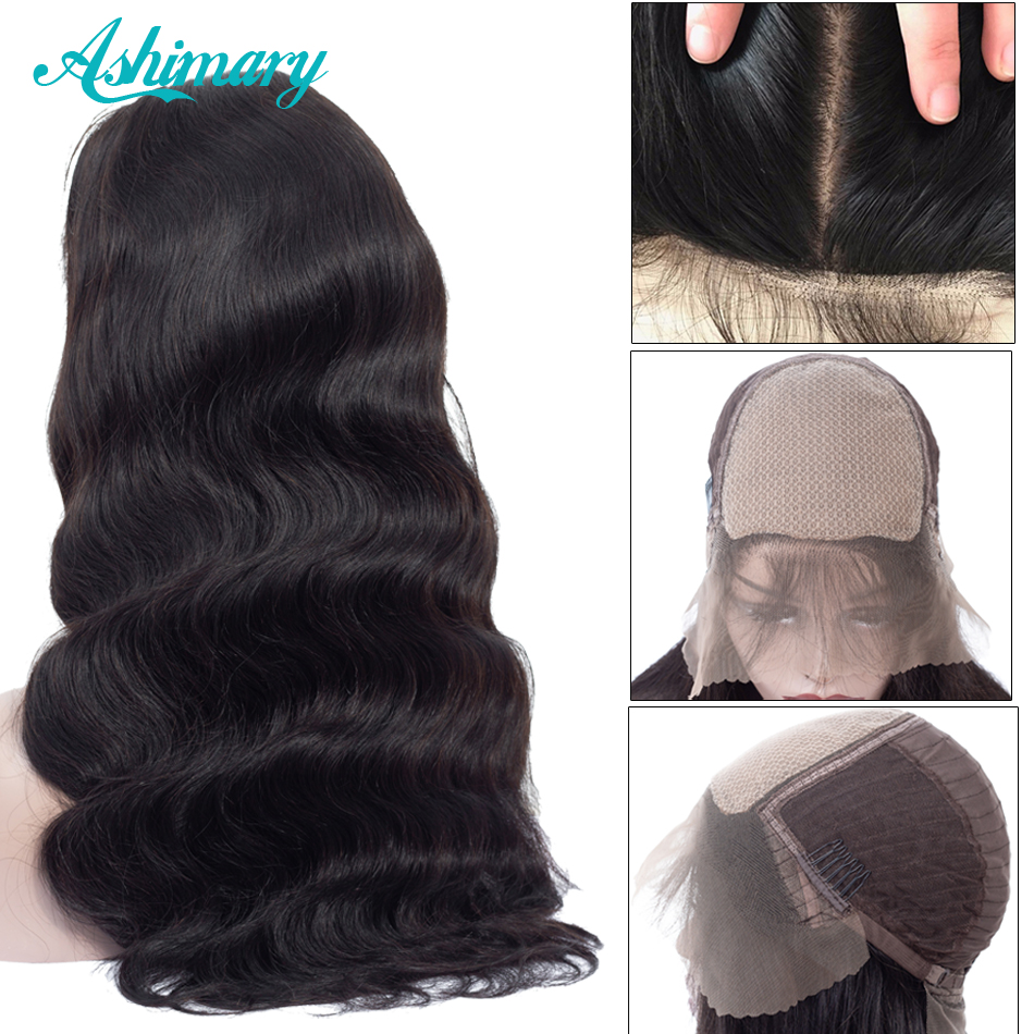 Ashimary Wig Human-Hair-Wigs Body-Wave Bleached Knots Lace-Front 13x6 Black Women Brazilian