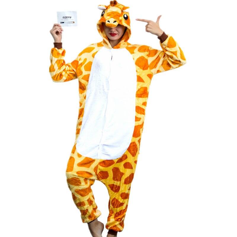 3ce7cce05824 Giraffe Onesie Adults Pajamas Sleepwear Cosplay Halloween Costumes Animal  Onsie for Women Men Winter Sleepsuit Unisex