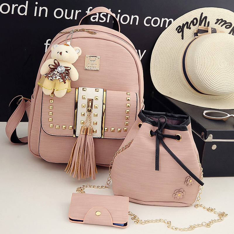 New Design Tassel Women Backpack PU Leather Backpack for Girls Female School Shoulder Bag Vintage 4 Pcs/Set Bagpack vvmi 2016 new women handbag brand design rivet suede tassel bag chic classic vintage saddle bag single shoulder bag for female