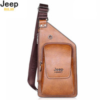 JEEP BULUO Brand Bag Men Chest Pack Single Shoulder Strap Back Bag Split Leather Travel Men