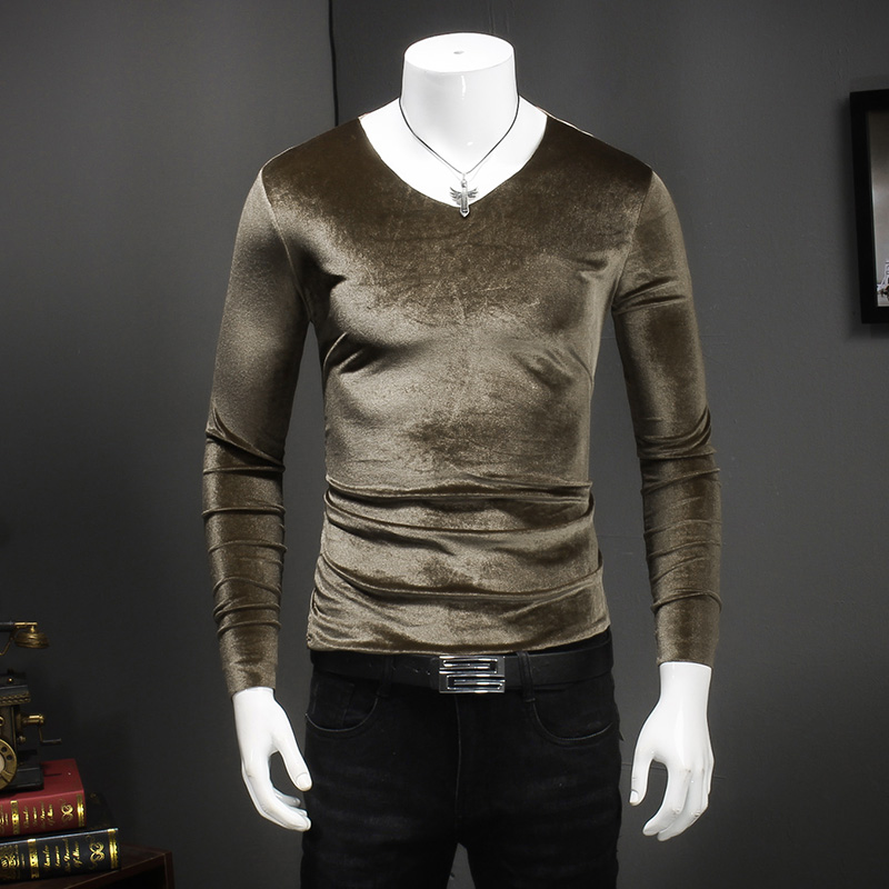 2017 Mens Velvet T shirts Winter Basic T Shirts Mens 5XL Clothing Silk T Shirts Mens Long Sleeves Camisa Slim Fit Social Club black plain deep v neck long sleeves loose fit t shirts