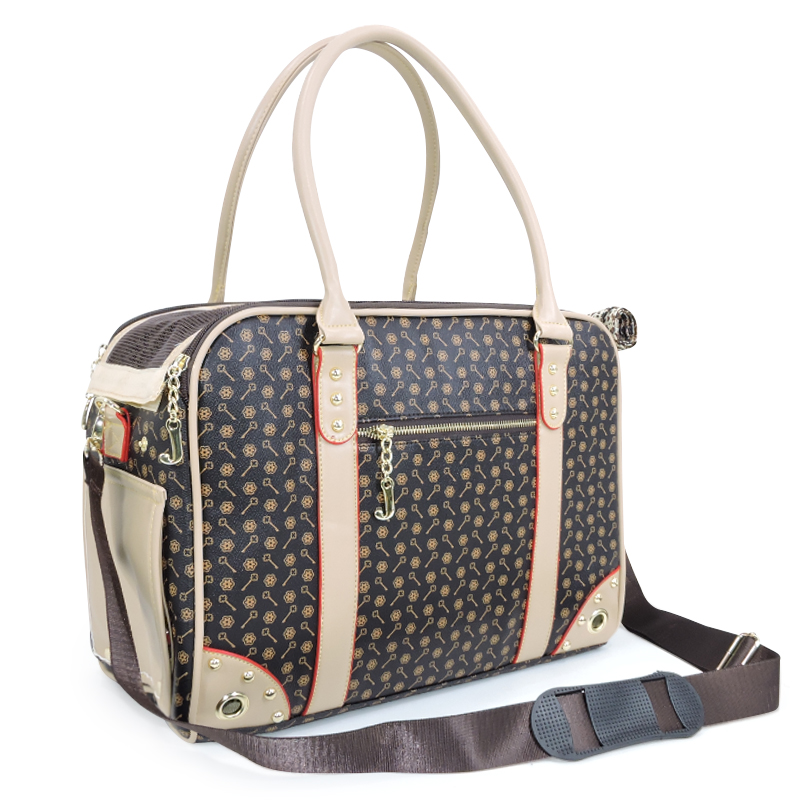 Senior Grid Bag For Cat Embossing PVC Beige Coffee Pet Dog Travel Outdoor Carrier Supplies For