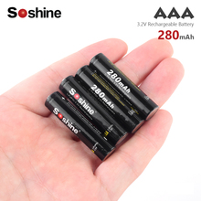 Hot new Soshine 280mAh AAA 10440 LiFePO4 Battery 3.2V Rechargeable batteries power high bank flashlight For Torch Remote Control soshine lifepo4 3 2v 600mah rechargeable cr123 batteries black 2 pcs