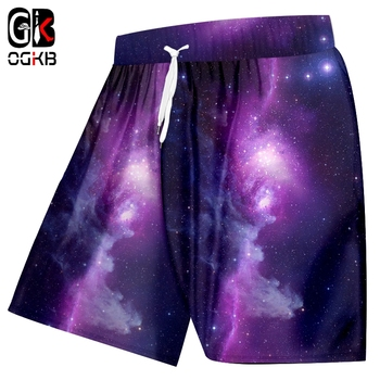 OGKB 2018 Homme Shorts Fashion Gyms 3D Beach Printing Starry sky Streetwear Plus Size 5XL Costuming - discount item  46% OFF Shorts