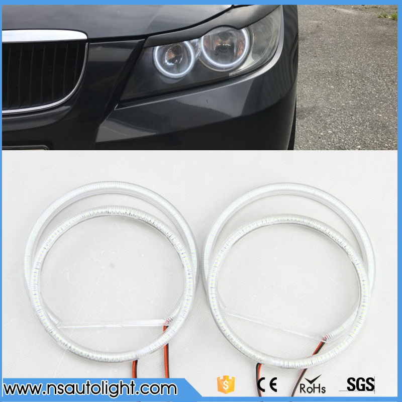 131MM+106MM 3014 SMD Led Angel Eyes Halo Ring Light For BMW E90 325 328 330 2005-2008 Xenon White led rings white 3014 smd led angel eyes headlight halo ring marker 131mm 145mm for bmw e46 non projector