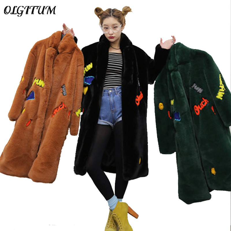 New fashion 2019 Long Warm Winter Faux Fur Coat Ladies long sleeve Army Green Yellow Embroidery Letter Outwear Female coat
