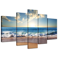 5Pcs Large HD Sunset Seascape Print Modern Decotative Paintings Home Wall Art