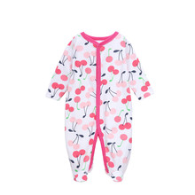 Newborn Baby Climbing Clothing 2016 Autumn Girls Long Sleeve Cotton Cherry Printed Jumpsuits & Rompers Children One Pc Clothing