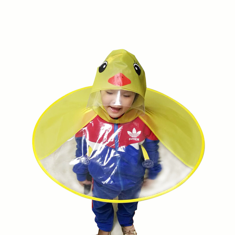 Yellow Duck Kids Raincoat UFO Cap Umbrella Automatic Folding Umbrella Children Hat Creative Raincoat Gift Student Woman Rain Hat