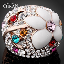 Chran Gold Color Sparkling Crystal l Engagement Rings Jewelry Wholesale Enamel Flower Finger for Women