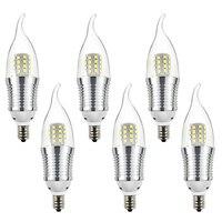 6pcs Candelabra Bulb 9W Daylight White 6000K LED Candle Bulbs E12 Candelabra Base 800 Lumens LED