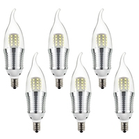 6pcs Candelabra Bulb 9W Daylight White 6000K LED Candle Bulbs E12 Candelabra Base 800 Lumens LED