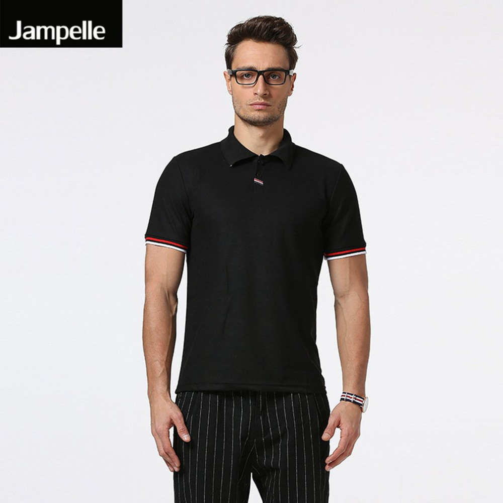 Jampelle New Stitching Striped Lapel Simple Short Sleeve Breathable Cotton Polo Shirt Men Tops Jerseys Golfs