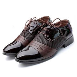 Мужские туфли Oxford Обувь на плоской подошве на шнурках 2019 Новая мода из искусственной кожи мужская обувь мужская повседневная обувь черная