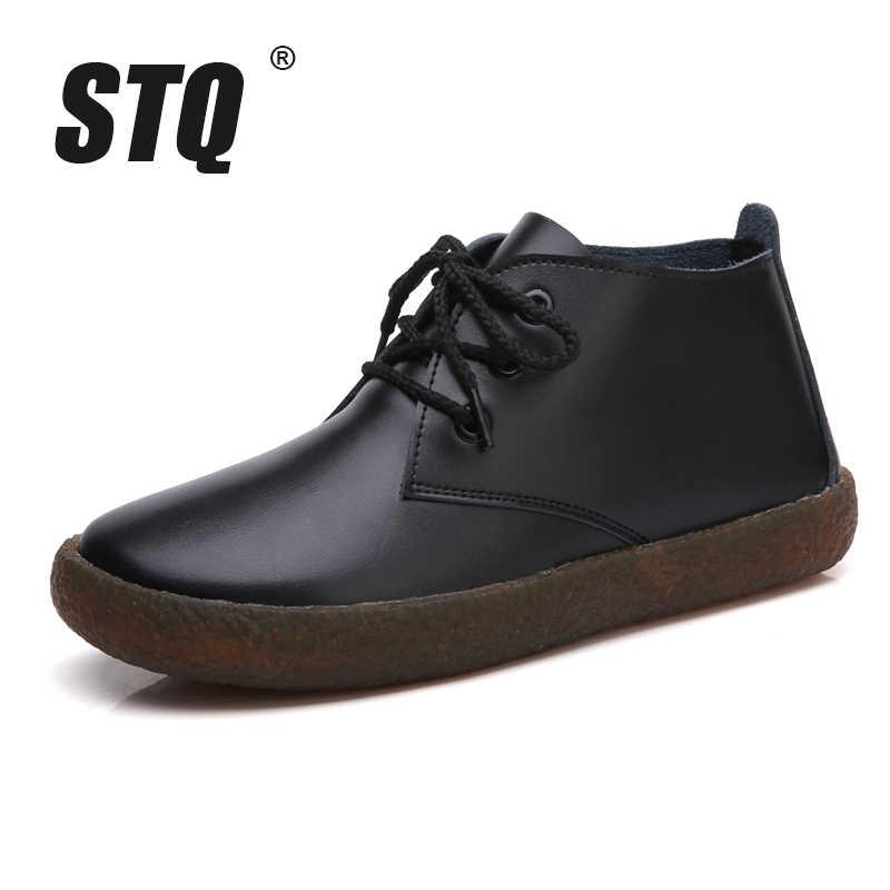 STQ 2019 Kış kadın yarım çizmeler düz kar botları ayakkabı kadın deri motosiklet çizmeler bayanlar yüksek yağmur lastik çizmeler ayakkabı 907