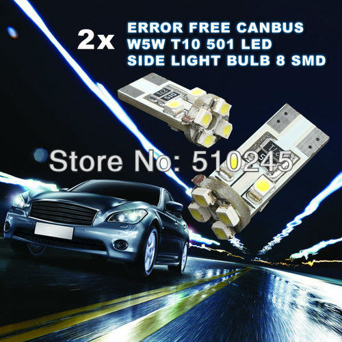 100X Car Auto LED T10 194 W5W 8 led smd 3528 Wedge led Light Bulb Lamp 8SMD White blue red free shipping