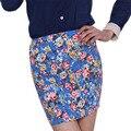 Moda 2017 OL Office Lady Falda de Verano Las Mujeres de Cintura Alta Elástica Mini Faldas Cortas florales Faldas Lápiz Cadera Falda Bodycon