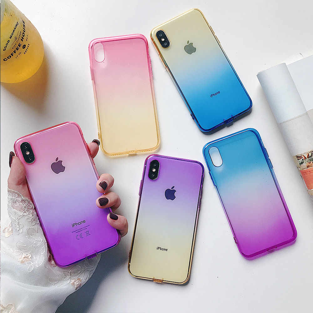 NYFundas gradiente funda de teléfono para iphone 8 7 6 6 s plus X 6 funda de silicona ultrafina a prueba de golpes para iphone XS MAX XS conque
