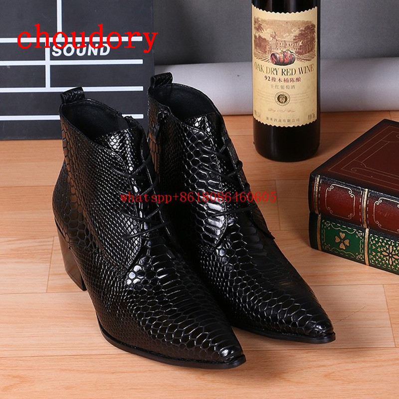Fashion Brand Design Black Snake Skin Leather Military Boots Pointed Toe High Heels Stud Cowboy Boots Dress Wedding Shoes Man Fashion Brand Design Black Snake Skin Leather Military Boots Pointed Toe High Heels Stud Cowboy Boots Dress Wedding Shoes Man