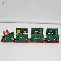 BUF Maison Accessoires De Décoration De Noël Décoration En Bois Train De Noël Chambre Ornements Enfants Jouet Coloré En Bois Train