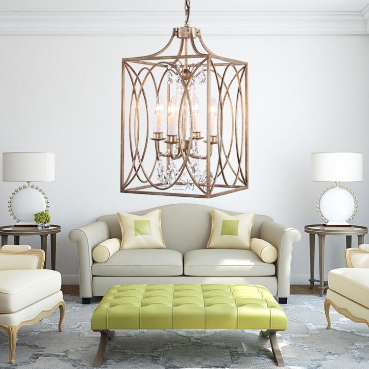 Modern square bird cage Pendant Light iron For Lobby Dining Room Arts Decoration lighting Antique Simple Pendant Lamp E14