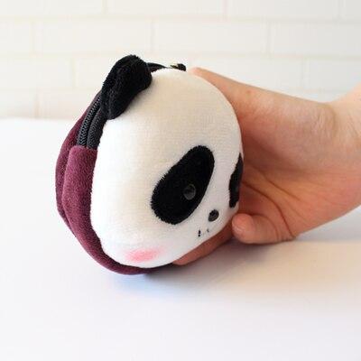 Кошелек для монет голова панды брелоки милые животные плюшевые женские сумки очаровательные аксессуары Подвеска мини кошелек брелок этнический подарок - Цвет: Фиолетовый