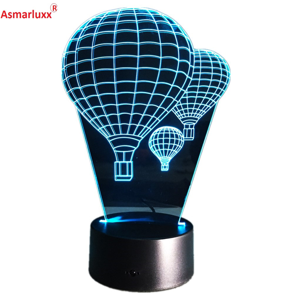 Hot Air Balloon 3D LED Lamp Bedroom Bedside Lamp 7 Colors Changing Touch Switch Sitting Room Sleeping Light Holiday Deco Gift