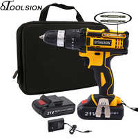21V 18+3 Torque Impact Cordless Screwdriver Cordless Drill Impact Electric Drill Power Tools Hammer Drill Electric Drill Hand