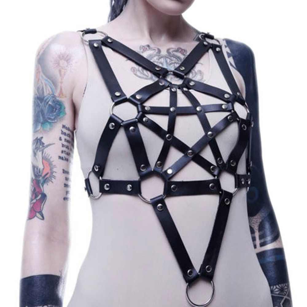 KMVEXO Sexy de cuero ligueros con arnés cinturón de estrellas armazón de plata las mujeres collar Bondage Gothic fiesta moda Festival joyería