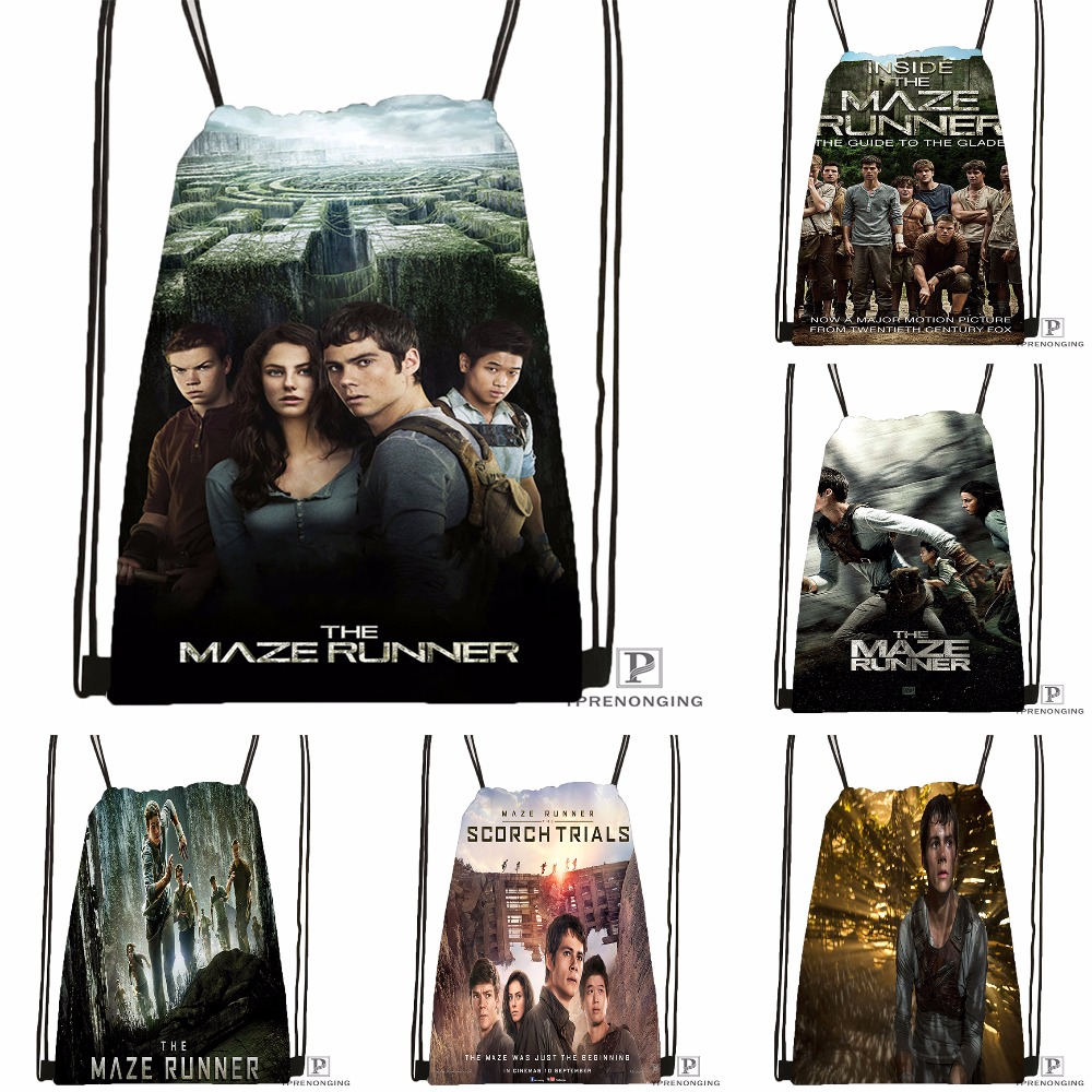 Custom Maze Runner1 Drawstring Backpack Bag Cute Daypack Kids Satchel (Black Back) 31x40cm#180531-04-19