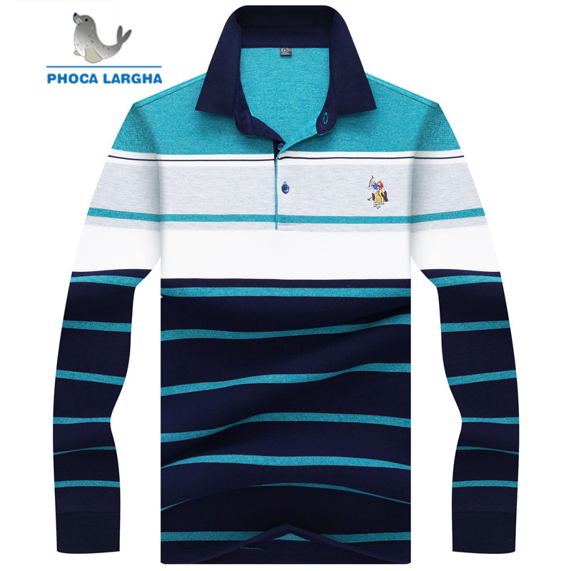 2018 New Men's Casual   Polo   Shirts Cotton Striped Embroidery Long sleeve Shirt Mens Slim Fit Business Turn-down   Polo   Shirt Male