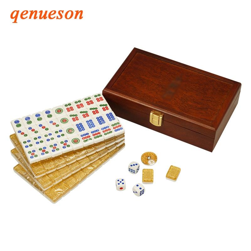 Top quality Golden Mini Mahjong Portable Wooden Boxes Majiang Set Table Game Mah jong Travel Travelling Entertainment Board Game