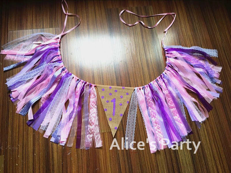 New Lavender Purple Pink Polka Dots Ribbon Banner Baby Girl High chair Bunting 1st 2nd 3rd Birthday Party  Baby shower Garland