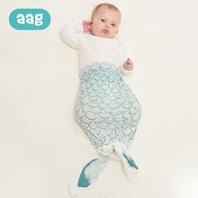 AAG 0-6M Envelope Baby Sleeping Bag Cotton Shark Zipper Sleepsacks Swaddle for Discharge Newborns Anti-fright 30