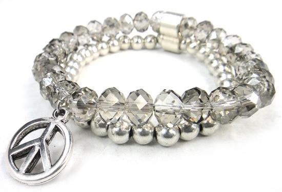 Новое поступление, 8 мм, блестящий серебряный хрустальный стеклянный браслет с подвеской мира, Женский растягивающийся браслет - Окраска металла: grey