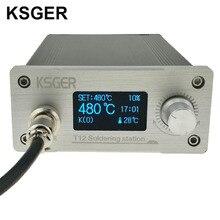 KSGER 흰색 두꺼운 패널 STM32 OLED T12 납땜 스테이션 온도 Hakko T12 전기 납땜 용 디지털 컨트롤러