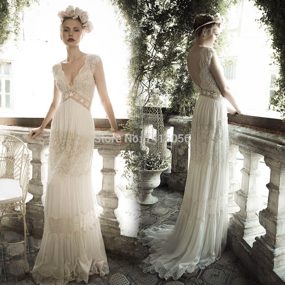 Fashion 2015 V Neck Lace And Chiffon Vintage Boho Hippie Wedding Dresses For Bride Gowns Robe De Mariage: Vintage Hippie Wedding Dress At Reisefeber.org