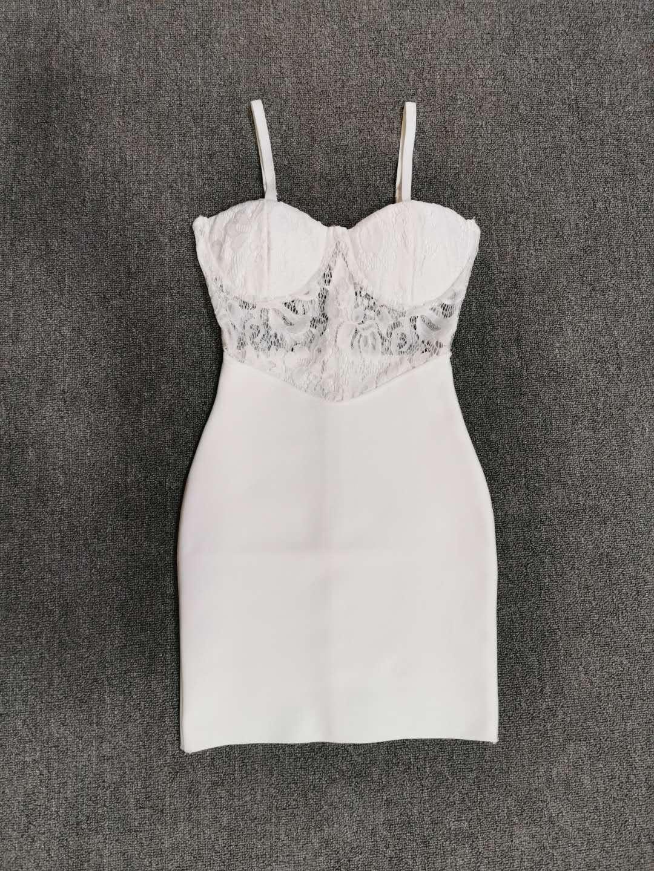 Free Shipping Summer Fashion Sexy V Neck Strap White Lace Bandage Dress 2020 Designer Elegant Evening Party Dress Vestido 2