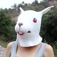 Милые Хэллоуин Белый Кролик Начальник Маска Латекс Смешные Анфас Cosply Маскарад Партия Гуд Смешные Маски